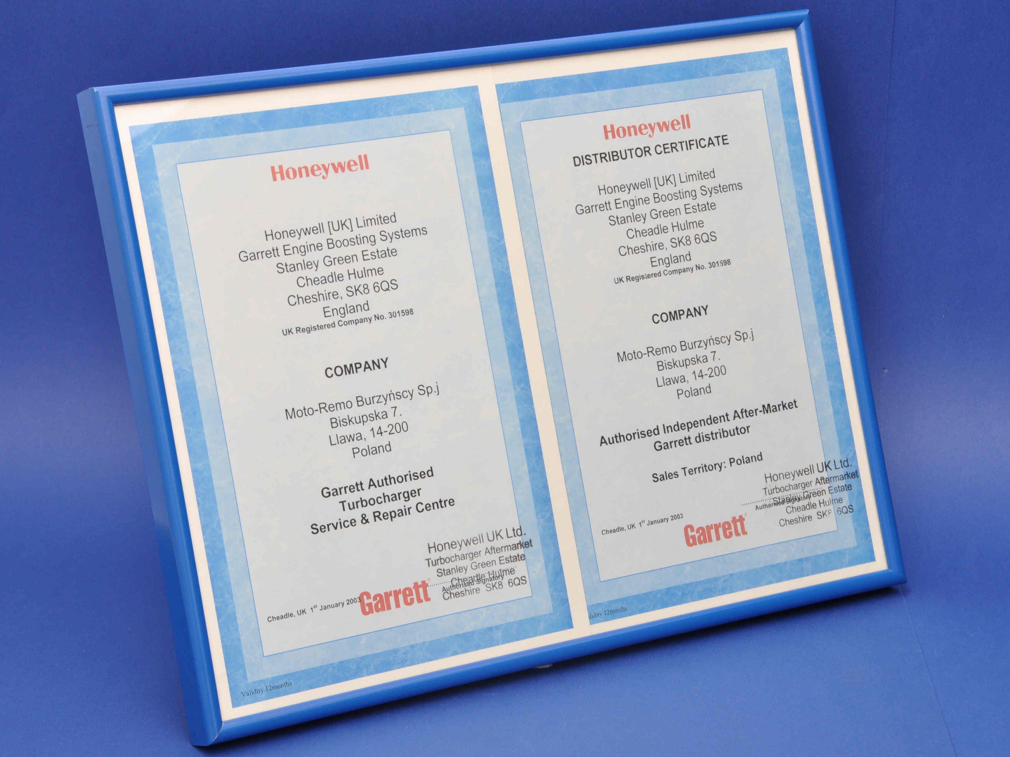 garrett certificate 2003