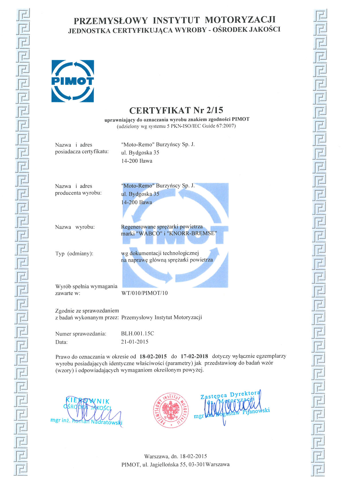 certyfikat pimot 215